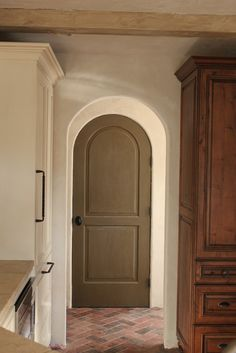 European Farmhouse Charm: Our Pantry & Laundry Room Makeover Arched Interior Doors, Farmhouse Interior Doors, Painted Interior Doors, Arched Doors, Victorian House Interiors, Victorian Townhouse, Pantry Laundry Room, Laundry Area, Cafe Door