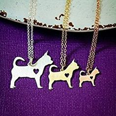Teacup Chihuahua Dog Necklace - IBD - Personalize with Name or Date - Choose Chain Length - Pendant Size Options - Sterling Silver 14K Rose Gold Filled Charm - Ships in 2 Business Days