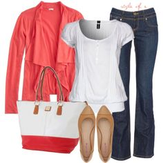 """Coral Cardigan and Tote"" by styleofe on Polyvore"