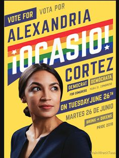 'Alexandria Ocasio-Cortez Congressional Campaign Poster (Pride version)' T-Shirt by TrainWreckTees