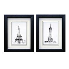 Iconic Landmarks is a 2 piece framed art set that features romantic sketches of the Eiffel Tower and the Empire State Building.  Artist: Hope Smith.