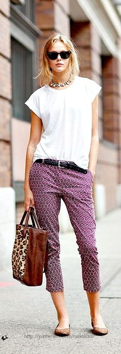 Pair a nursing top with printed bottoms. (Top pictured is not an actual nursing top but it works.)
