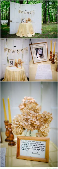 Like this overall: might incorporate candle sticks, flowers, banner into bride and groom table (lea)
