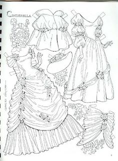 cinderella I loved paper dolls when I was young! Paper Art, Paper Crafts, Paper Dolls Printable, Vintage Paper Dolls, Coloring Book Pages, Colored Paper, Paper Toys, Colorful Pictures, Cinderella