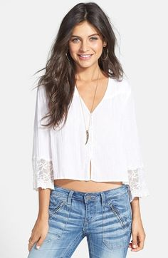 Rubbish® Embroidered Mesh Trim Crop Top (Juniors) available at #Nordstrom
