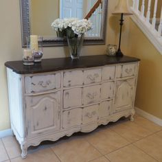 Old Dresser Painted And Reused As A Console In A Foyer