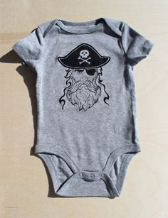 Baby Bodysuit Pirate on Gray 36 months by simplyprinted on Etsy, $10.00