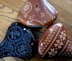 If It's Hip, It's Here: Leather Engraved Brooks Saddle Bicycle Seats By Kara Ginther