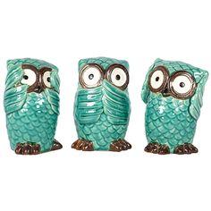 3 Piece No Evil Owl Statue Set