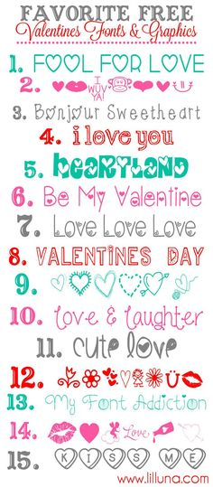 FREE Valentines Fonts and Graphics