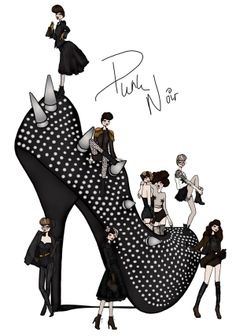 Punk inspired illustration by Anna Bours Illustration.Files: Punk Noir