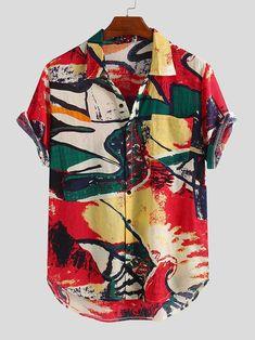 Loose Shirts, Printed Shirts, Cheap Mens Fashion, Smart Casual Outfit, Men Casual, Summer Shirts, Mens Clothing Styles, Colorful Fashion, Menswear