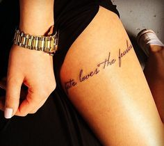 #tattoo #thigh #script