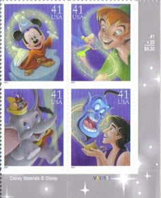 Amazon.com: ART OF DISNEY: MAGIC ~ MICKEY MOUSE ~ PETER PAN & TINKER BELL ~ ALADDIN & GENIE #4195 Plate Block of 4 x 41¢ US Postage Stamps: ...