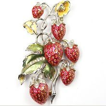 Rare BOUCHER Strawberries Pin in Pink, Green, & Yellow Metallic Enamel & Clear Pave Rhinestones