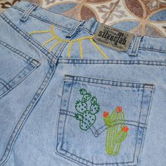refreshing jeans with fun embroidery stitches