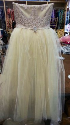 Carolyn lace champagne with tulle skirt.