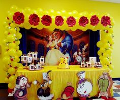 Disney beauty and the beast balloon arch made by Normita Globos