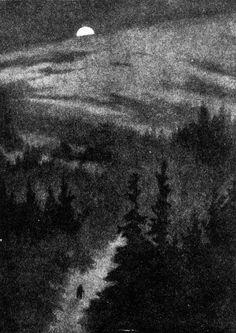 drawing Illustration landscape trees night forest bunny rabbit new moon mushrooms dar 1927 the new moon shirley kite virginia baker g. Dark Fantasy Art, Dark Art Illustrations, Illustration Art, Theodore Kittelsen, Nocturne, Arte Black, Troll, Night Forest, Gravure