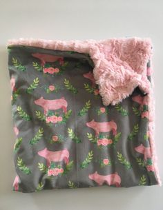 Pig Minky Baby Blanket- pig floral nursery, double minky, modern blanket, girl baby shower gift, dwell darling baby bedding - Everything For Babies Easy Baby Blanket, Soft Baby Blankets, Pigs In A Blanket, Minky Baby Blanket, Pig Baby Shower, Baby Shower Gifts, Baby Bedding, Modern Blankets, Kindergarten