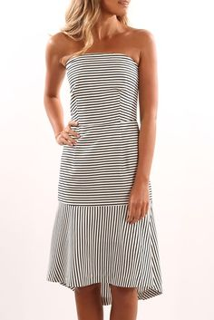 Another Time Strapless Dress White Stripe