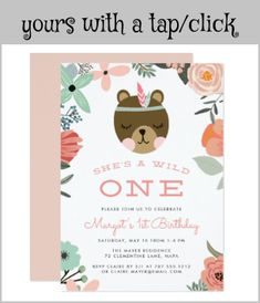 Wild One | First Birthday Party Invitation #firstbirthdaypartyinvitations #she'sawildone #wildonebirthdayparty #cute #girlfirstbirthday #boho #birthday #invitations #stationery #customize #personalized Wild One Birthday Party, Girl First Birthday, First Birthday Parties, Birthday Party Invitations, First Birthdays, Bohemian Theme, Boho, Wild Ones, White Envelopes