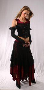 """Velvet Gothic Skirt. Full Length Velvet & Lace """"Zig~Zag""""Skirt. 2 colours. By Bares/Fashion X~76-1968"""