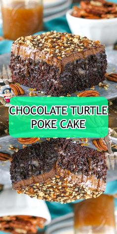 CHOCOLATE+TURTLE+POKE+CAKE Chocolate Caramels, Chocolate Frosting, Chocolate Cake, Easy Healthy Dinners, Healthy Recipes, Chocolate Turtles, Yummy Food, Tasty, Poke Cakes