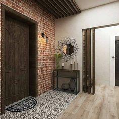 Дизайн прихожей с элементами стиля лофт. Оцените Main Door Design, Entry Way Design, Exterior Design, Interior And Exterior, Casa Loft, Corridor Design, Country Interior Design, Hallway Inspiration, Hall Furniture