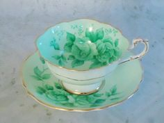 Absolutely beautiful !!  Mint Green Tea Cup and Saucer Set - Vintage Paragon Teacup and Saucer Set - Vintage Teacups and Saucers via Etsy