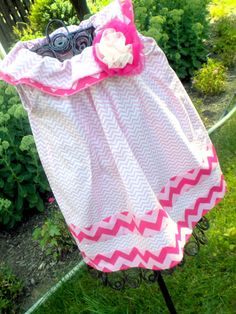 Infant Toddler Girls Twirly Pink Chevron Dress by BeeBeesBoutique, $33.00