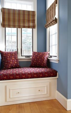 Great window seat, and I love the placement of the window treatments. Let light in on top, but be able to lower the shade for privacy. For the sunroom Window Seat Curtains, Drapes And Blinds, Drapes Curtains, Transom Windows, Nook And Cranny, My Furniture, Window Treatments, Home Improvement, Interior