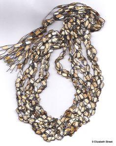 Crocheted Ribbon Necklace, Ladder Yarn Necklace, handmade fiber necklace via Etsy