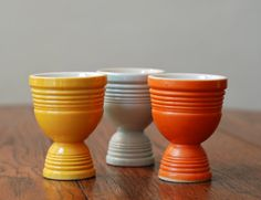 Vintage Set of Three Egg Cups, I have one of these ... i use for a vase :))