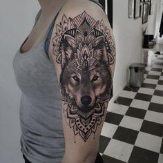 Wolf mandala tattoo by arrethai