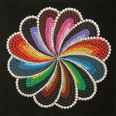 Handmade acrylic painting on canvas, using dot art technique. Mandala Canvas, Mandala Artwork, Mandala Painting, Dot Art Painting, Painting Patterns, Stone Painting, Aboriginal Dot Art, Posca Art, Mandala Rocks