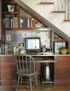 under the stairs office look - would a darker finish like the one pictured look better than painted white?