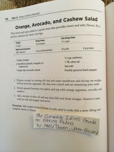 Orange, Avocado and Cashew Salad (from The Complete Idiot's Guide to Eating Paleo, by Neely Quinn and Jason Glaspey)