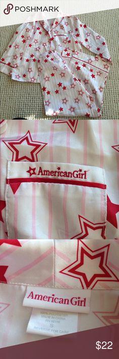 EUC! American Girl Red Star Striped Pajama Set S EUC! American Girl Red Star Striped Pajama Set. Size Small. 100% polyester. No flaws. American Girl Pajamas Pajama Sets