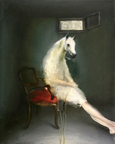 Andrea Lehmann.  Horse 1, 2010. Oil on canvas, 35 x 25 cm.
