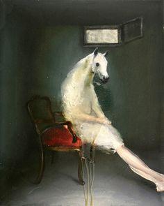 Andrea Lehmann.  Horse 1, 2010. Oil on canvas, 35 x 25 cm.