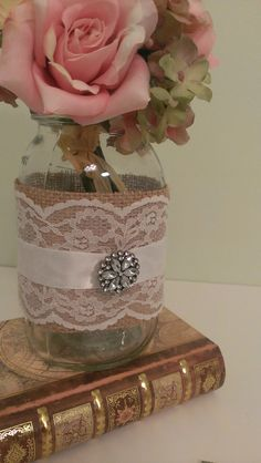 rustic wedding centerpiece burlap and lace wedding mason jar centerpiece burlap and brooch set of 6 on Etsy, $68.95