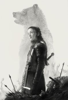 'Lyanna' by Greg Ruth. Part of his 52 Weeks Project series, 'Songs Of Ice & Fire', original portraits of characters from the HBO series, 'Game Of Thrones'. All pieces are one of a kind originals. Lyanna Mormont, A Princess Of Mars, Alex Pardee, Abrams Books, Andy Park, Ace Books, The North Remembers, Les Continents, Air New Zealand