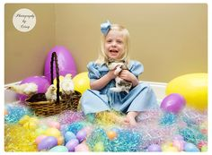 Indoor easter photo session with a bunny and chicks but add a backdrop or something