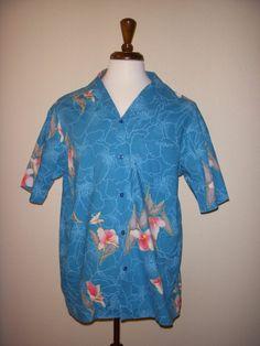 Hilo Hattie Vintage 1970s Turquoise Aloha Tiki Polynesian Hawaiian Camp Shirt XL