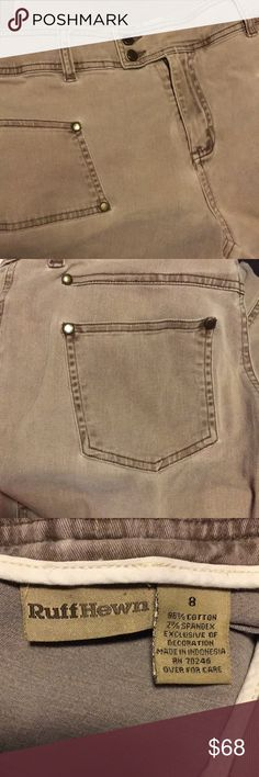 """Ruff Hewn well worn khaki pants, 4 pocket, fly zip Khaki pants, soft 98% cotton, 2% spandex, slight stretch, double grommet front closure, zip, belt loops, brown top stitching throughout 10"""" front rise, 15.5 waist, 30 inseam length Ruff Hewn Pants Boot Cut & Flare"""