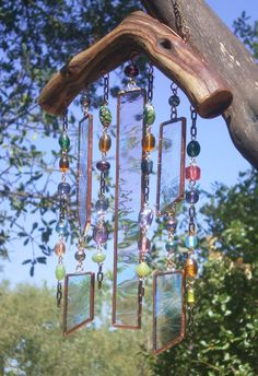 Garden Hanging Wind Chimes Manzanita Stained by Lightworksartworks
