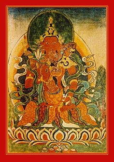 Samantabhadra and Alokema; he is the act of smelling - she is the future. Although they share the same name, this Samantabhadra refers to a human Bodhisattva who originally appeared in Shakyamuni Buddha's retinue.  The All Good One is expertise in making offerings and prayers of aspiration. He holds a bouquet of jewels, symbolizing that the aspirations of all beings are fulfilled. Lamp Lady holds a flame in a brass burner, dispelling the darkness of ignorance.