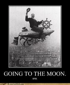 Image from Conquering the Skies (A la conquête de l'air 1901 (1906 USA), dir. Ferdinand Zecca), in which the image of Zecca astride a vehicle he invented was superimposed on a view of Paris. More on Zecca at http://www.victorian-cinema.net/zecca.htm