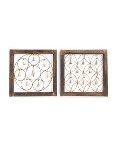 Set+Of+2+Wood+Framed+Bell+Wall+Decor
